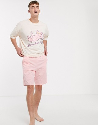 Asos Design DESIGN lounge pyjama short and oversized tshirt set in pink with print