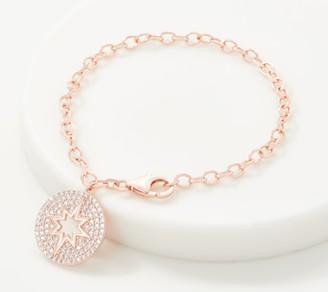 Diamonique Pave Sunburst Charm Bracelet, Sterling Silver