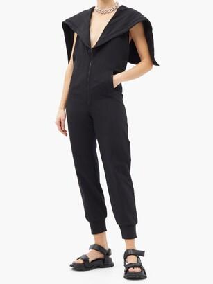 Norma Kamali Halterneck Zipped-hood Cotton-blend Jumpsuit - Black