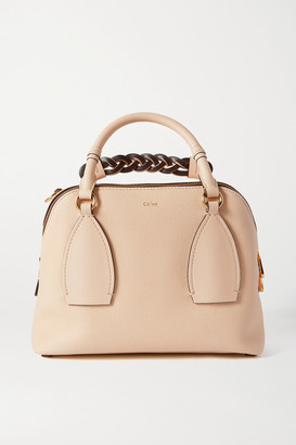 Chloé Daria Medium Textured And Smooth Leather Tote - Beige