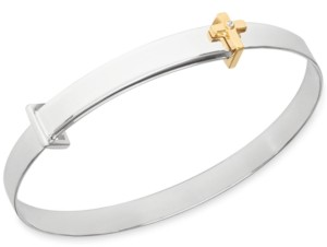 Rhona Sutton My Very Own Diamond Children's Diamond Accent Cross Expander Bangle Bracelet in Sterling Silver and 14K Gold over Sterling Silver