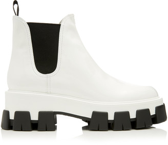 Prada Two-Tone Patent Leather Chelsea Boots