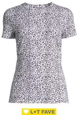 Lord & Taylor Leopard-Print Stretch-Cotton Tee
