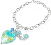 Glass Heart House of Murano Mare - Turquoise Murano Charm Sterling Silver Bracelet