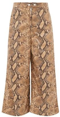 Ellery Nuance Snakeskin-effect Wide-leg Cropped Trousers - Camel