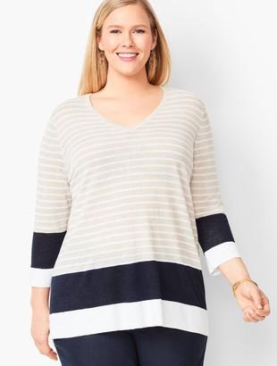 Talbots Blocked-Stripe Linen Sweater