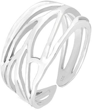 Elli Women's 925 Sterling Silver Genuine Jewellery Wrapped Nature Leaf Adjustable Ring, Sizes M N P Q