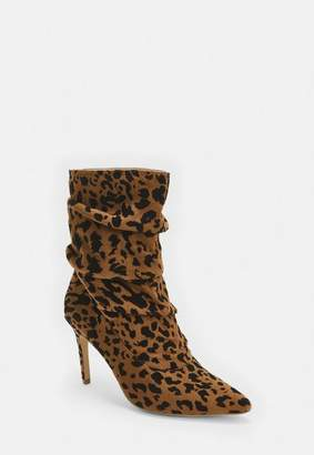Missguided Brown Leopard Print Slouchy Pointed Toe Ruched Heeled Ankle Boots