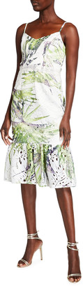 Dress the Population Alea Palm Print Flounce-Hem Dress