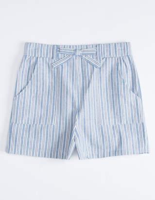 White Fawn Stripe Girls Beach Shorts