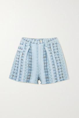 IRO Frayed Textured Cotton-blend Shorts - Blue