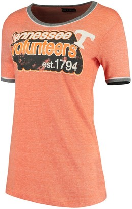 New Era Women's 5th & Ocean by Heathered Tennessee Orange Tennessee Volunteers Retro Ringer Tri-Blend T-Shirt