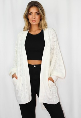 Missguided White Belted Balloon Sleeve Knitted Cardigan