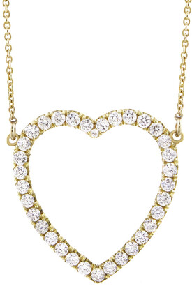 Jennifer Meyer Diamond Large Open Heart Yellow Gold Necklace