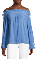 Love Sam Cotton Smocked Off Shoulder Blouse
