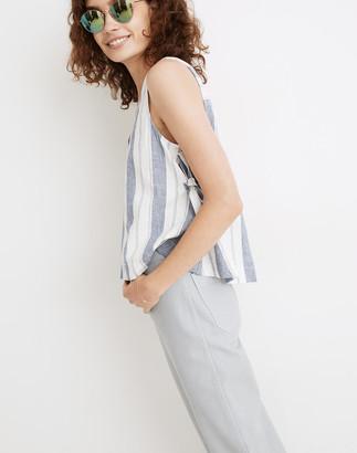Madewell Linen-Blend Side-Tie Tank Top in Stripe