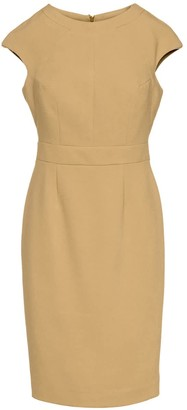 Conquista Solid Colour Dress With Cap Sleeves Camel Color.