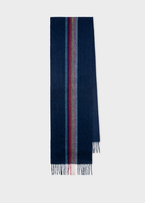 Paul Smith Men's Navy 'Artist Stripe' Central Band Cashmere Scarf