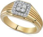Macy's Men's Diamond Cluster Ridged Ring (1/2 ct. t.w.) in 10k Gold