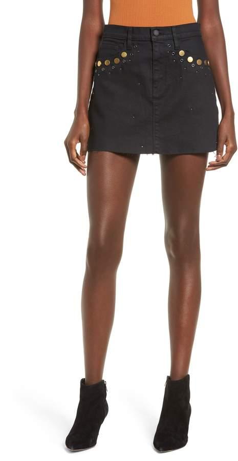 Hudson Jeans The Viper Studded Coated Denim Miniskirt