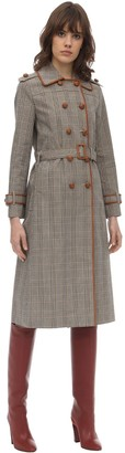 Tory Burch PLAID BONDED COTTON TRENCH COAT