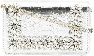 Metallic Floral Stone Trim Clutch