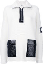 Courreges zipped high neck jumper - women - Cotton/Polyurethane/Merino - 1