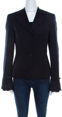 Escada Navy Blue Crepe Wool Embroidered Cuff Trim Button Front Blazer M
