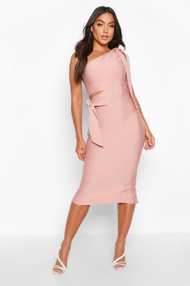 boohoo Boutique One Shoulder Tie Cut Out Bandage Midi Dress