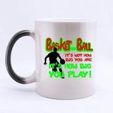 "Simple Magic Gift For Christmas / New Year / Birthday - Ceramic Morphing Mug - Fashion Design ""BASKETBALL IT'S NOT HOW BIG YOU ARE IT'S HOW BIG YOU PLAY"" 11 Ounces Heat Sensitive Color Changing Custom Coffee/Tea Mug"