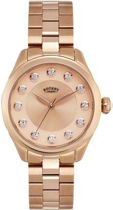 Rotary Women's Analogue Classic Quartz Watch with Stainless Steel Strap LB011/W/25