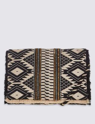 M&S CollectionMarks and Spencer Aztec Print Hand Embellished Clutch Bag with Strap