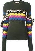 Marni ruffle trim jumper - women - Cotton/Polyamide - 42