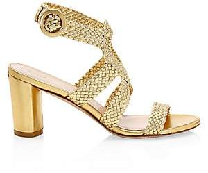 Stuart Weitzman Women's Vicky Woven Metallic Leather Sandals