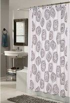 "Carnation Home Fashions Lucerne"" 100-Percent Polyester Fabric 70 by 72-Inch Shower Curtain with Flocking, Standard, White/Black"