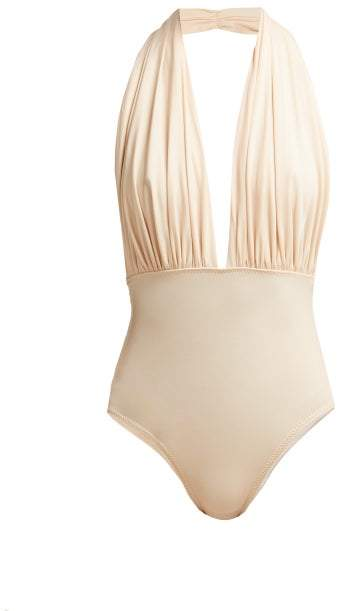 Mio Halterneck Swimsuit - Womens - Light Pink