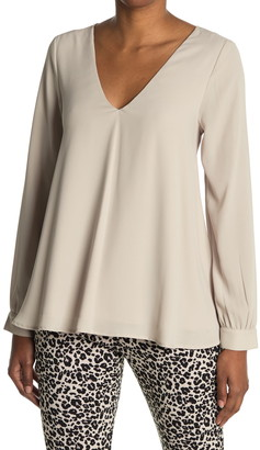 Karen Kane Cross Back Crepe Swing Top