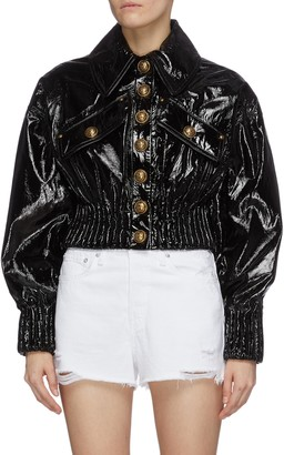 Balmain Flap pocket patent leather puff jacket