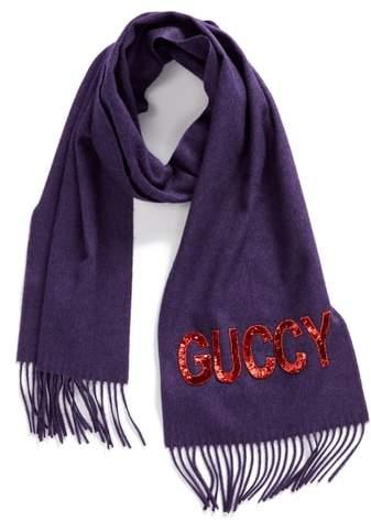 Gucci Guccy Sequin Silk & Cashmere Scarf