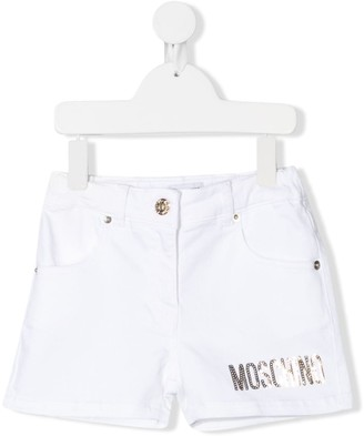 MOSCHINO BAMBINO Sequin-Logo Denim Shorts