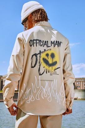 boohoo Mens Beige Official MAN Graffiti Back Print Overshirt, Beige