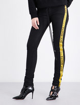 Off-White Ladies Black Clay Wash Ye Concealed Zip Panel-Detailed Mid-Rise Skinny Stretch-Cotton Jeans