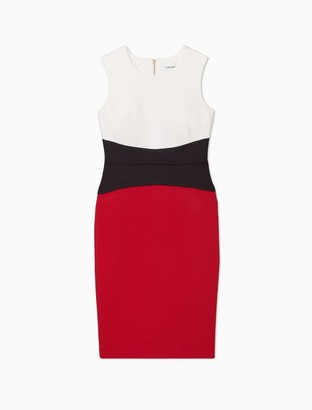 Calvin Klein Colorblock Cinch Waist Sleeveless Sheath Dress