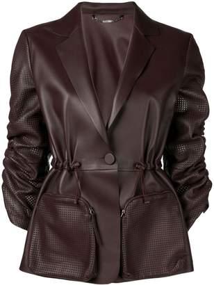 Fendi perforated ruched sleeve leather jacket