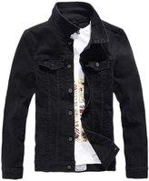 Chouyatou Men's Classic Collared Single Breasted Medium-Washed Denim Trucker Jacket