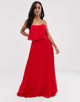 Asos Design DESIGN pleated crop top maxi dress with scoop neck-Red