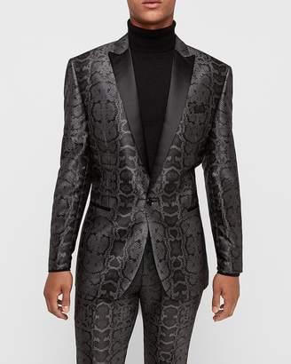 Express Slim Gray Snakeskin Jacquard Tuxedo Jacket