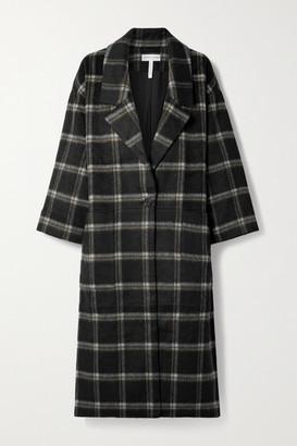 Apiece Apart Vita Oversized Checked Brushed Wool-blend Coat - Black