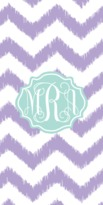 The Well Appointed House Personalized Beach Towel with Purple Ikat Chevron Pattern