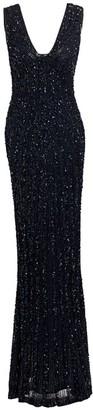 Rachel Gilbert Lita Hand Embellished V-Neck Gown
